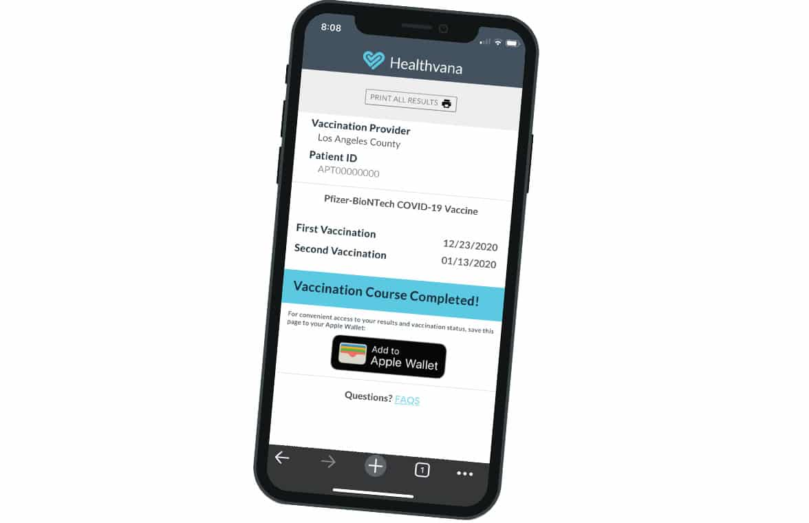 Los Angeles vaccination certificate in mobile wallet