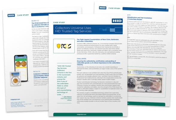 Pages from 'Case study: Collectors Universe used HID Trusted Tag Services'