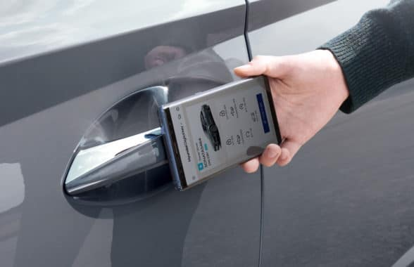 Hyundai digital car key on a smartphone