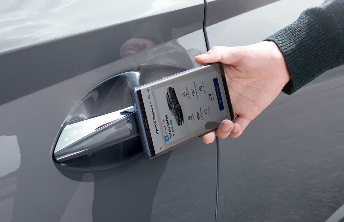 Hyundai digital car key on a smartphone