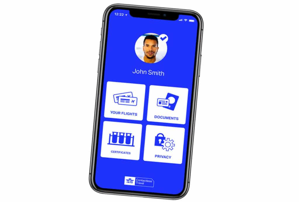 IATA digital travel pass on smartphone for contactless NFC ID