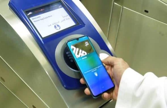 RTA Dubai No1 pay app on a Huawei NFC smartphone