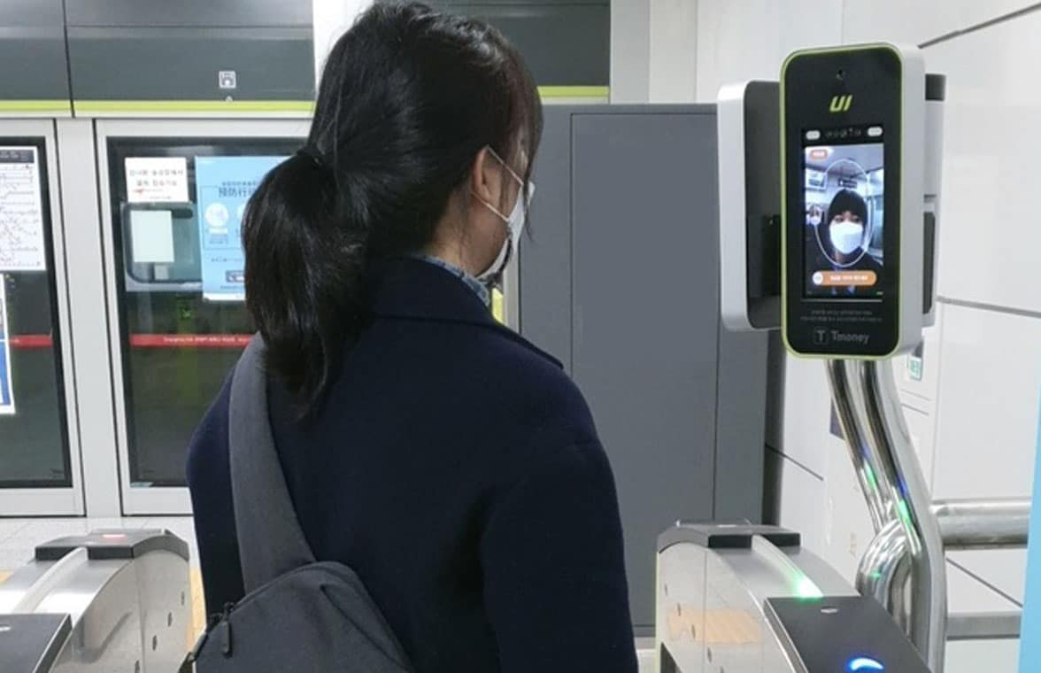 Seoul Metro T-Money face recognition payment at a light railway gate