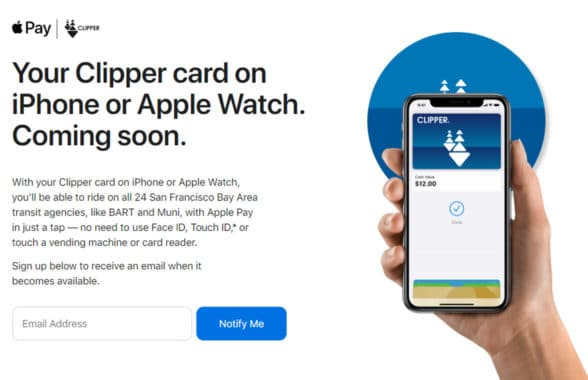Clipper card on Apple iPhone for Apple Pay payment of transit fares