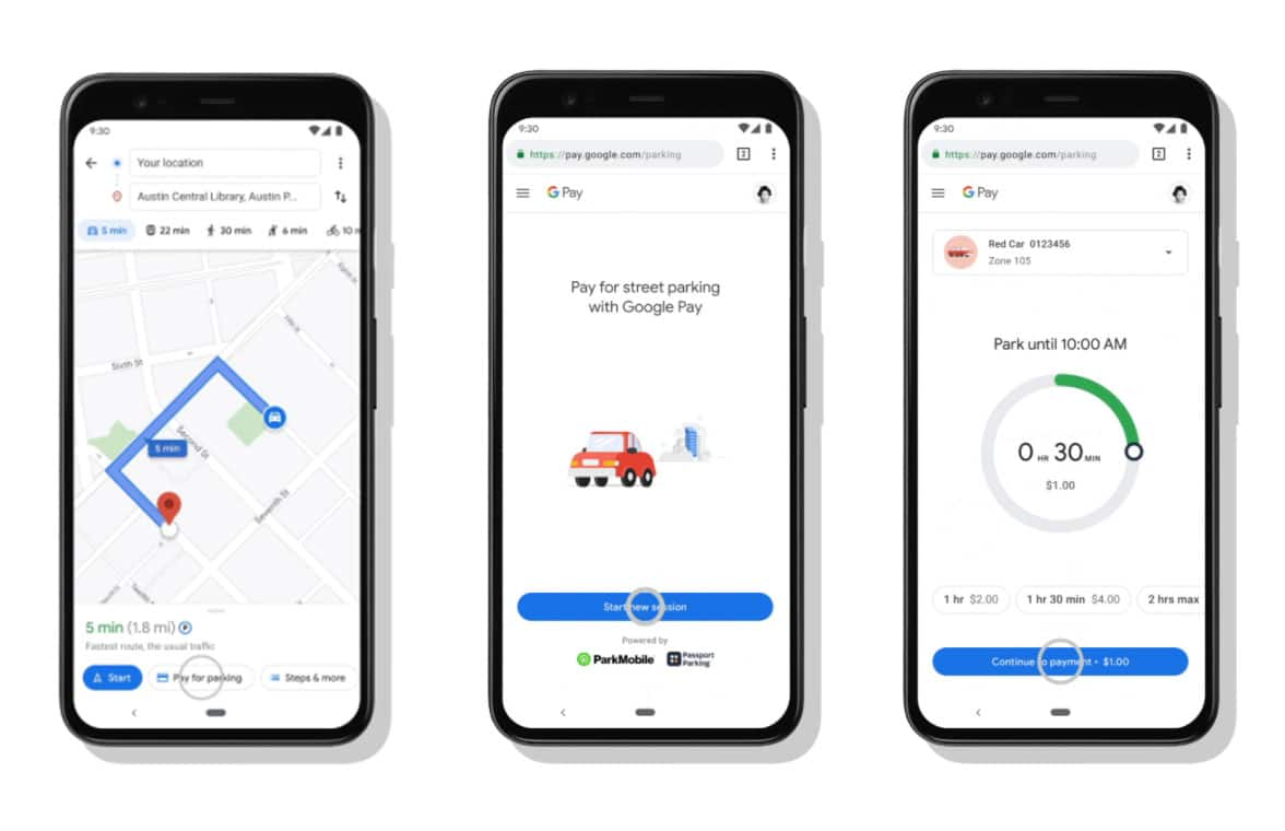 Screenshots showing Google Maps letting users pay for parking via Google Pay