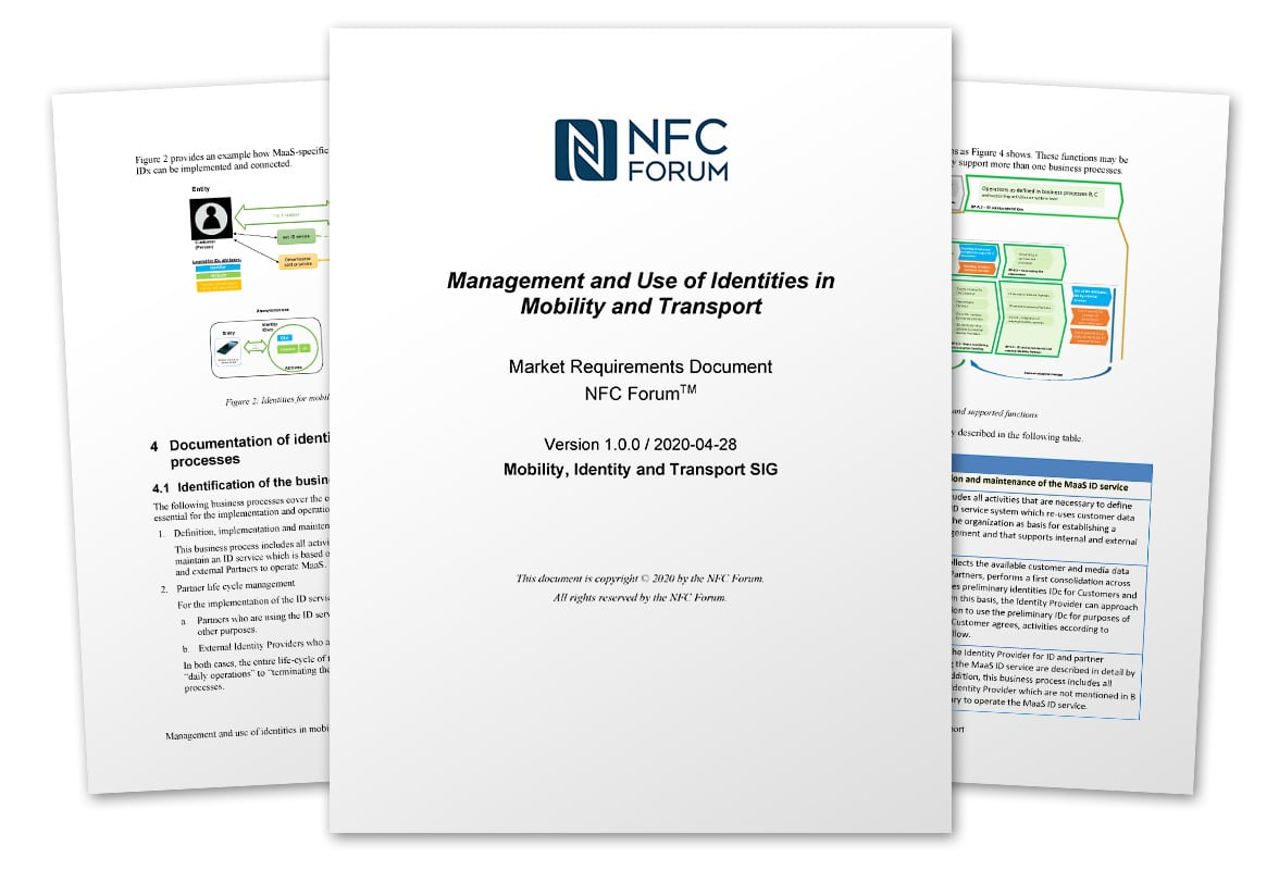 Pages from NFC Forum's 'Management and Use of Identities in Mobility and Transport'