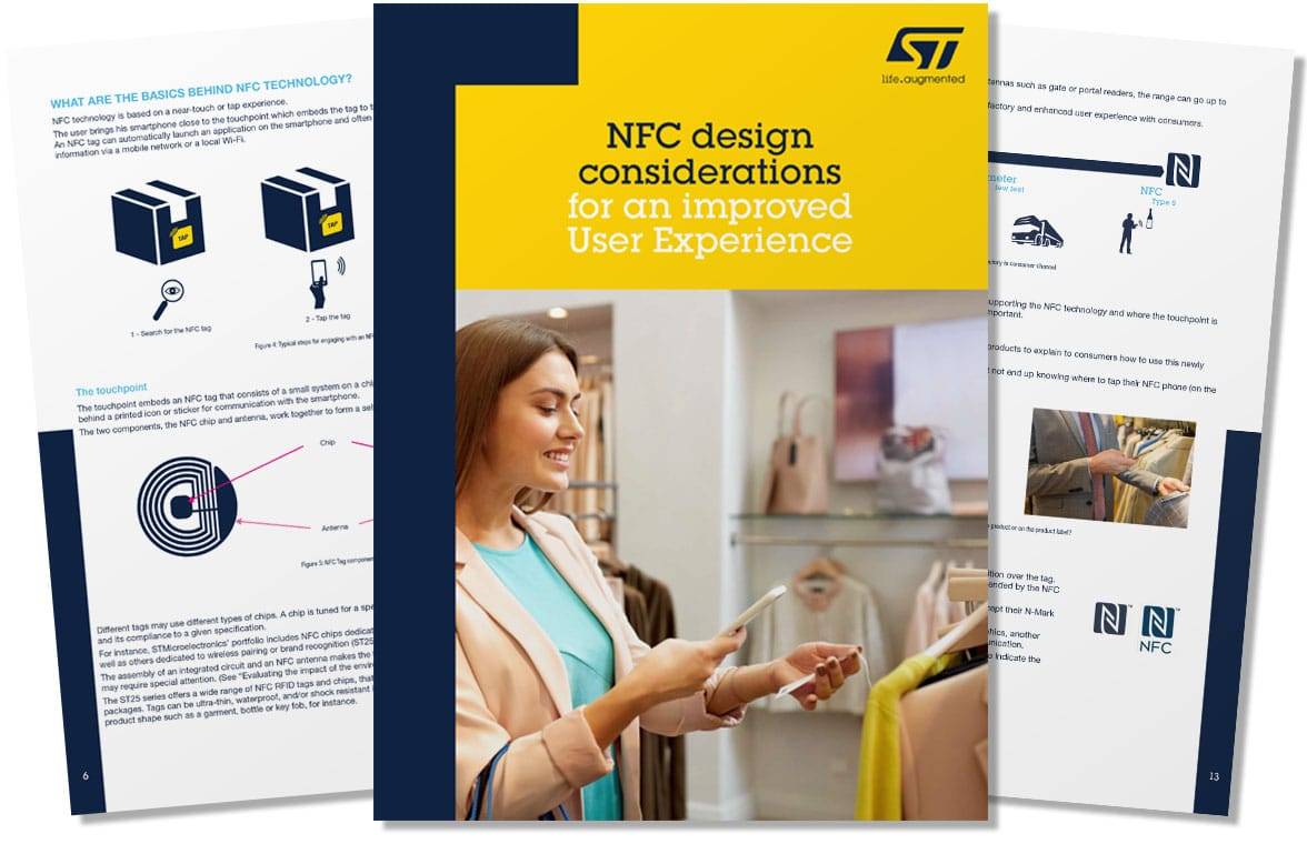 STMicroelectronics NFC design considerations white paper cover and pages