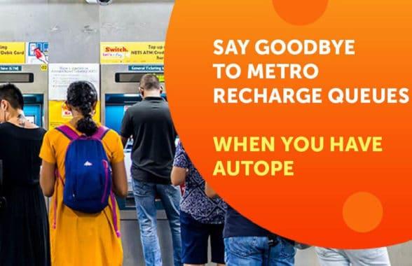 Delhi Metro AutoPe top up at gates promo graphic