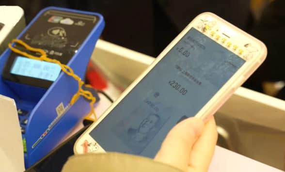 Digital yuan wallet in use on smartphone in Shanghai