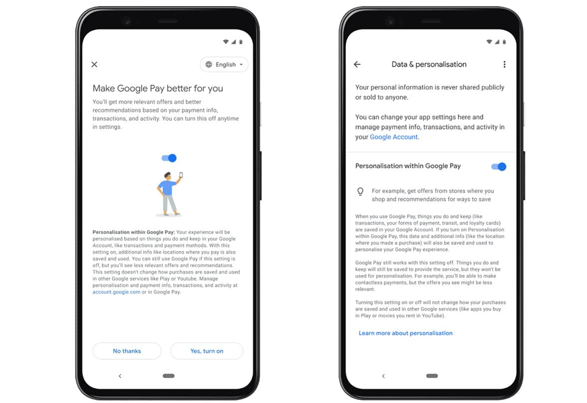 Google Pay on smartphones showing personalisation of transaction data