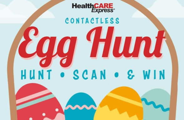 Healthcare Express contactless Easter egg hunt poster