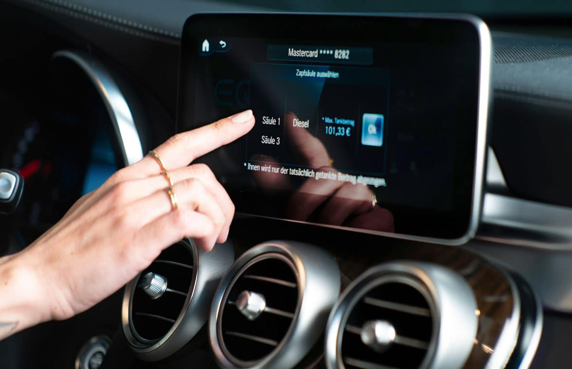Mercedes contactless in-vehicle fuel payments