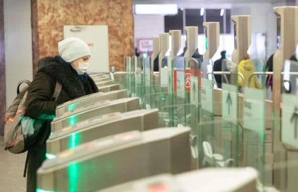 Passenger uses Moscow Metro contactless access gates