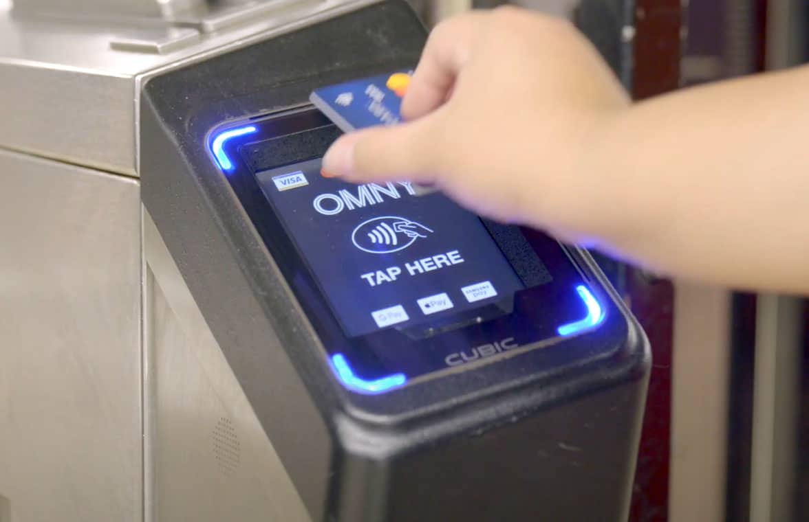 Omny contactless fare payment using a bank card