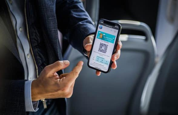 Man using QR mobile ticket on Sofia public transportation network