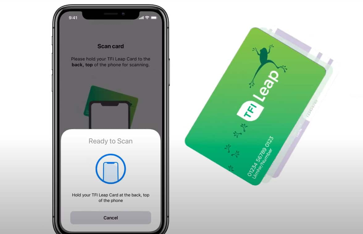 Transport for Ireland Leap NFC transit card top-up