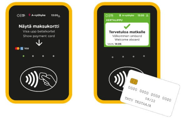 Helsinki Regional Transport contactless payment instructions illustration