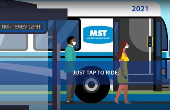 Monterey-Salinas Transit (MST) tap to ride illustration