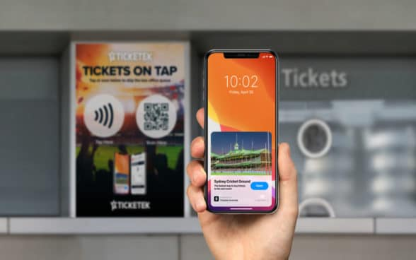 Ticketek App Clip on smartphone using NFC to buy event tickets