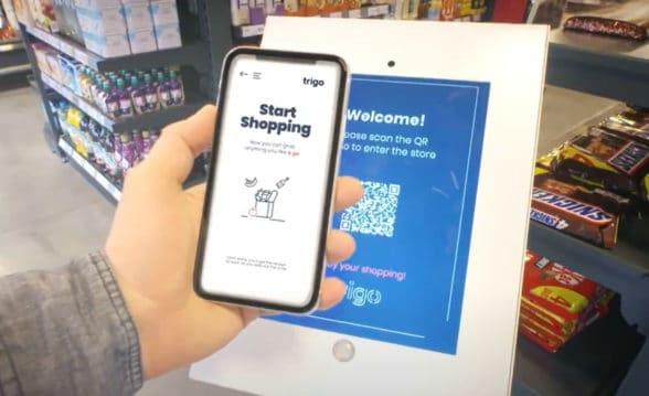 Trigo QR code supermarket entry using mobile phone