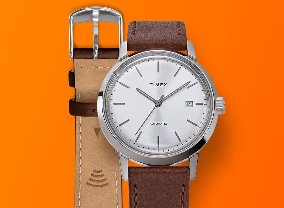 A Timex watch with a Timex Pay-enabled strap