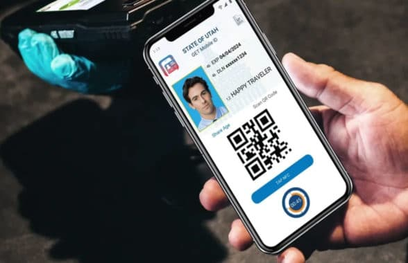 Utah Credit Union mobile ID with QR code on phone