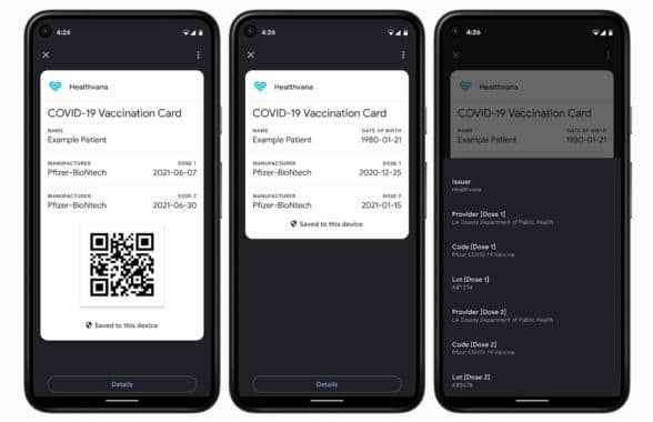 Covid vaccination certificate on Google Pay Android smartphone