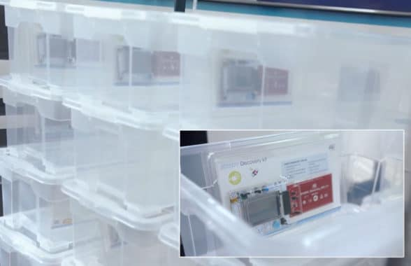 Pallet using STMicroelectronics and Feig Electronic bulk personalisation via NFC tags