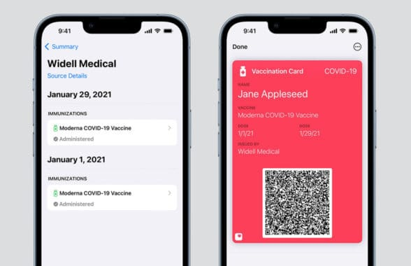 Apple wallet showing digital Covid-19 vaccination records
