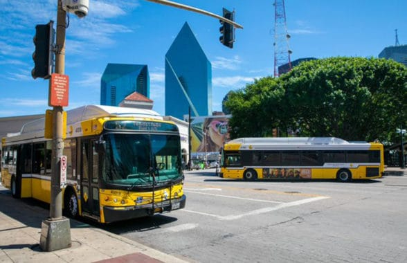 Dallas DART buses with contactless transit ticketing system