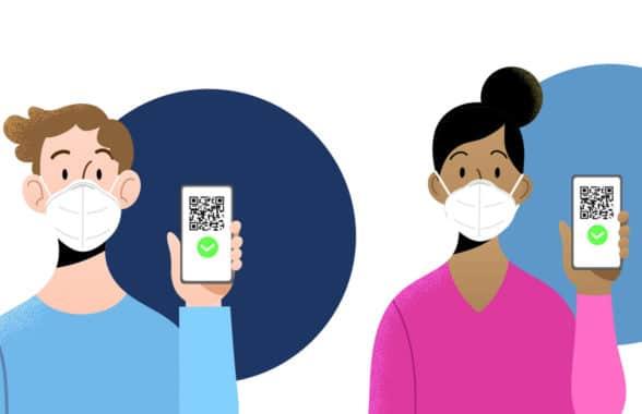 Covid-19 health status certificates on smartphones graphic