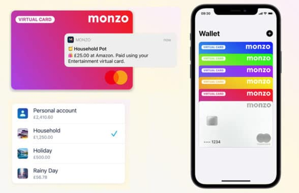 Monzo virtual debit card payments on smartphone