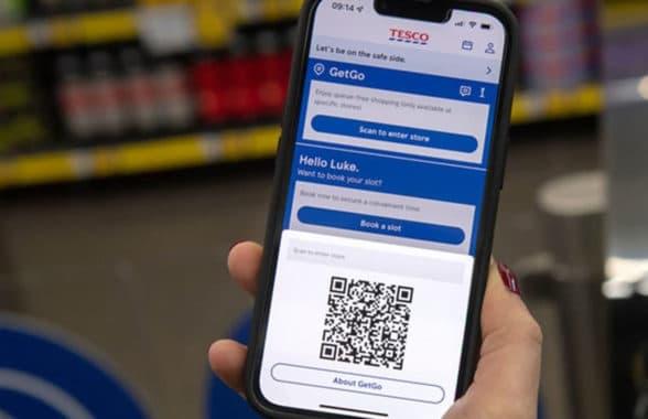tesco.com app on smartphone for access to GetGo checkout free store